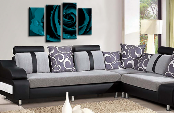 Flower Rose Wall Art Floral Picture Print Grey Teal White